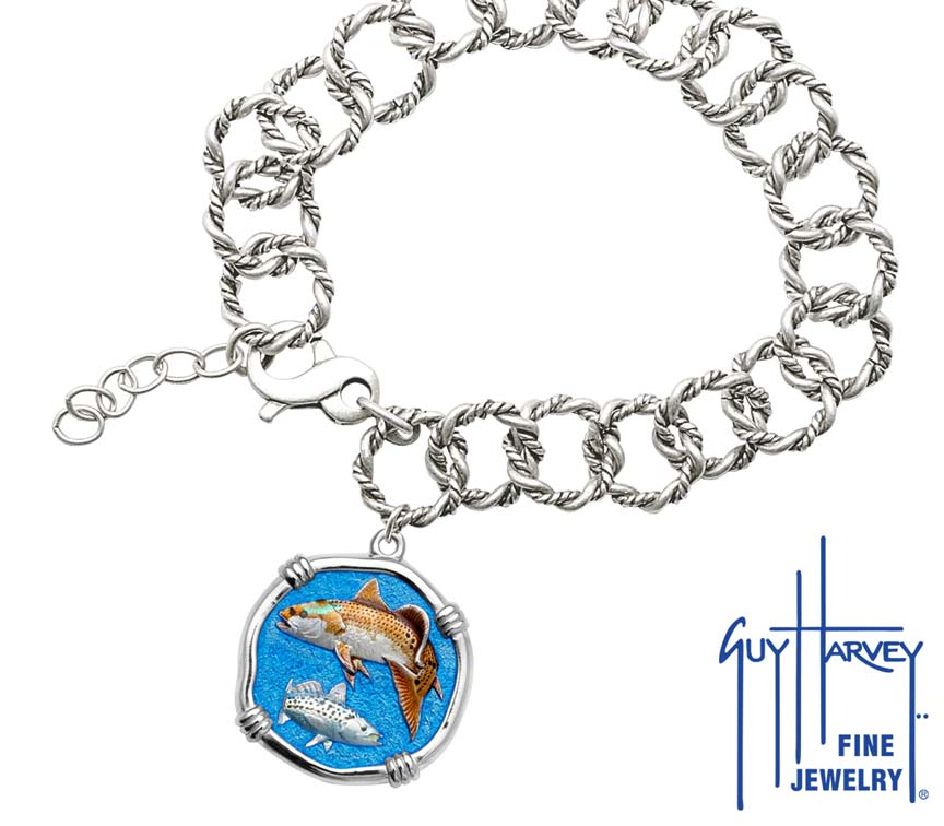 Guy Harvey Redfish & Trout on Rope Link Bracelet Full Color Enamel Sterling Silver