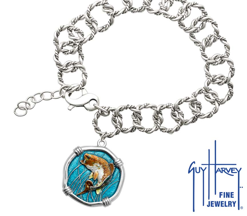 Guy Harvey Bass on Rope Link Bracelet Full Color Enamel Bright Finish 25mm Sterling Silver