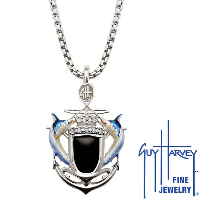 Guy Harvey Marlin Shield Diamond and Onyx Box Necklace Full Color Enamel Bright Finish