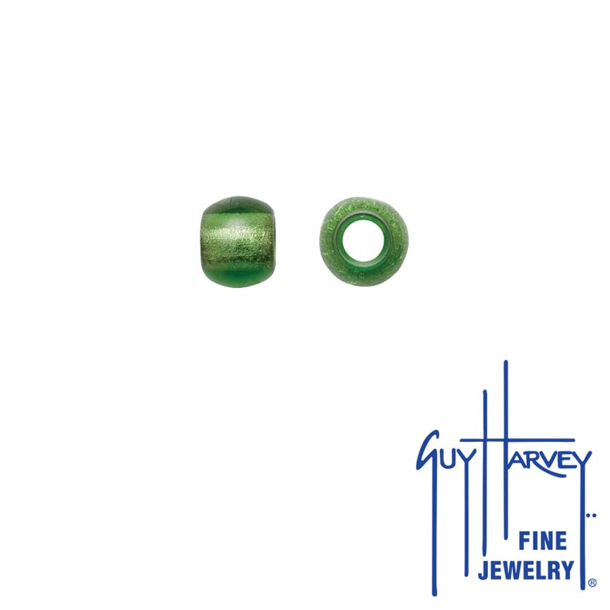 Two Chartreuse Trophy Slide Glass Accent Beads