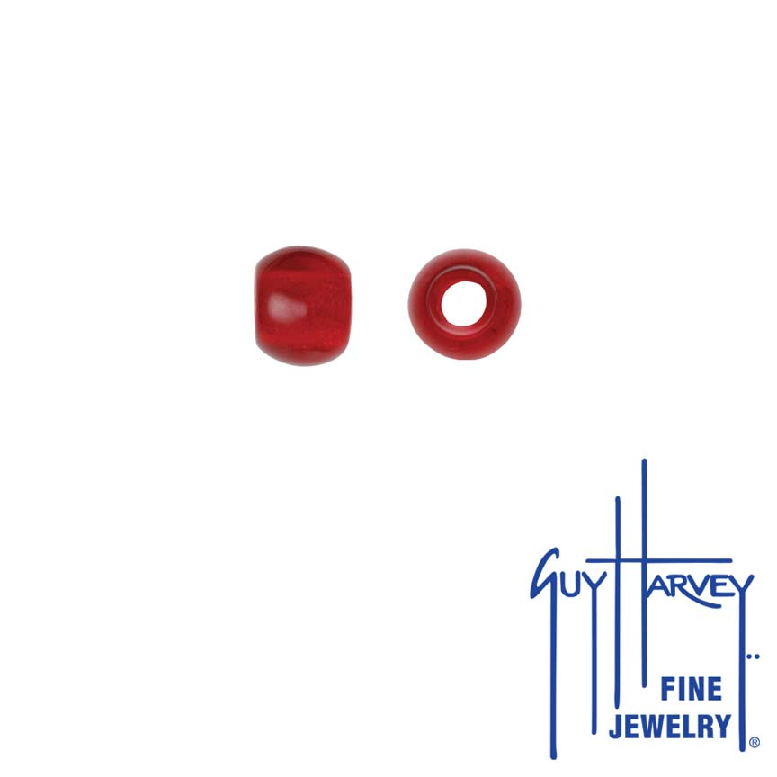 Two Ruby Red Trophy Slide Glass Accent Beads