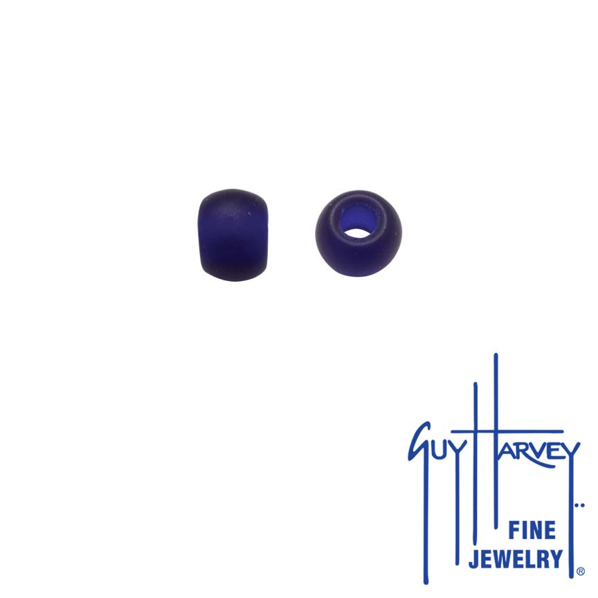 Two Cobalt Blue Matte Trophy Slide Glass Accent Beads