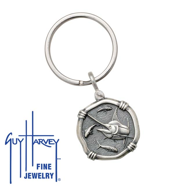 Guy Harvey Marlin Keyring Relic Finish 25mm Sterling Silver