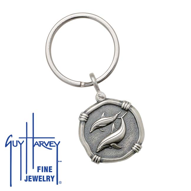 Guy Harvey Porpoises Keyring Relic Finish 25mm Sterling Silver