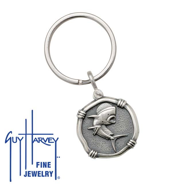 Guy Harvey Dolphin Keyring Relic Finish 25mm Sterling Silver