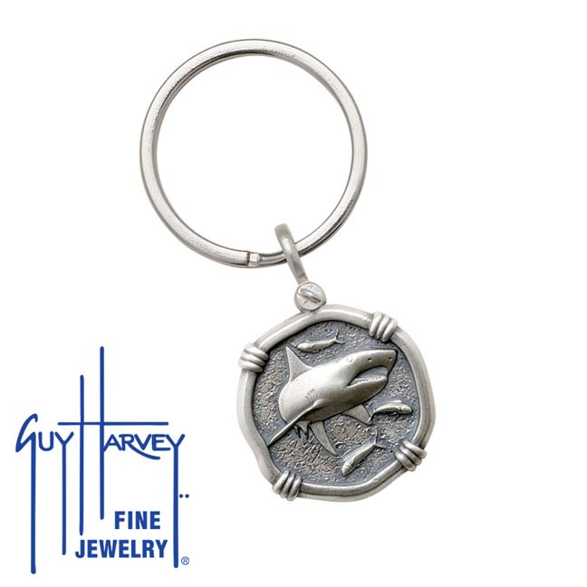 Guy Harvey Shark Keyring Relic Finish 25mm Sterling Silver