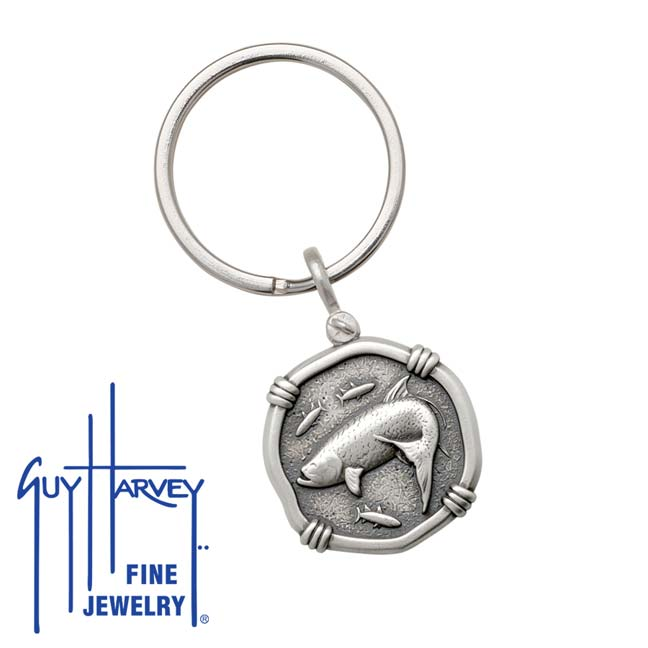 Guy Harvey Tarpon Keyring Relic Finish 25mm Sterling Silver