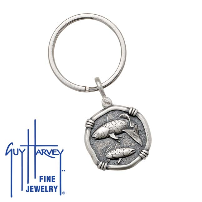 Guy Harvey Redfish & Trout Keyring Relic Finish 25mm Sterling Silver