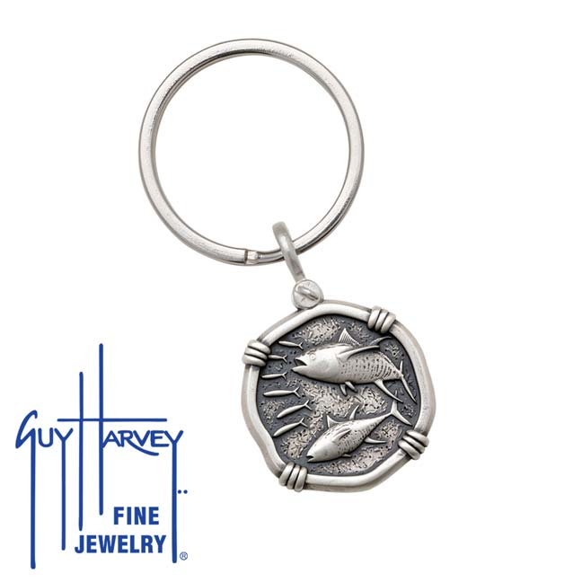 Guy Harvey Tuna Keyring Relic Finish 25mm Sterling Silver