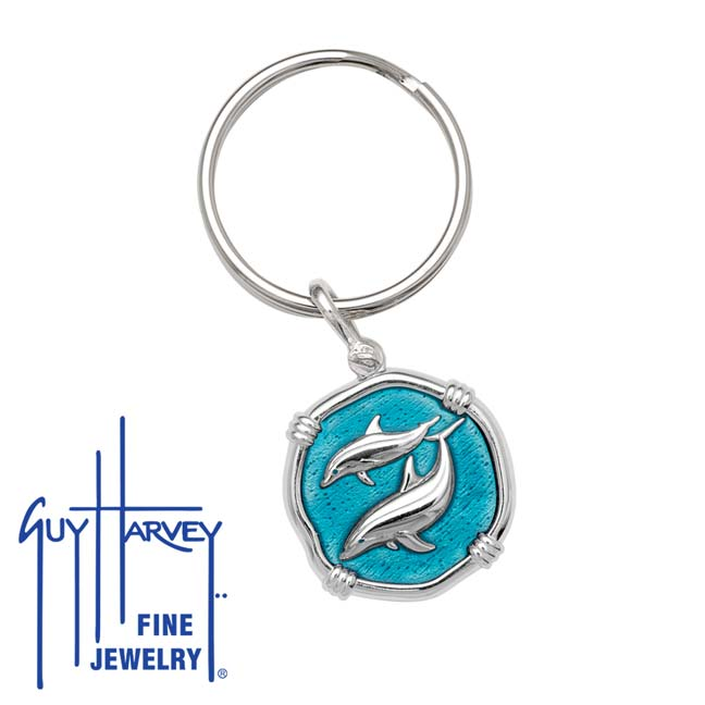 Guy Harvey Porpoise Keyring Cayman Green Enamel Bright Finish 25mm Sterling Silver