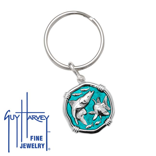 Guy Harvey Snook Keyring Cayman Green Enamel Bright Finish 25mm Sterling Silver