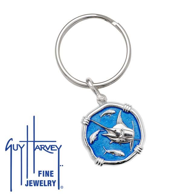 Guy Harvey Marlin Keyring Caribbean Blue Enamel Bright Finish 25mm Sterling Silver