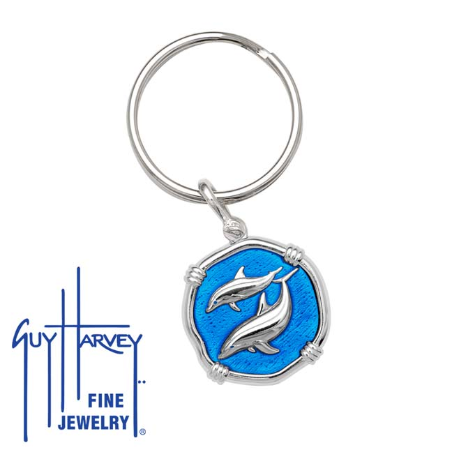 Guy Harvey Porpoise Keyring Caribbean Blue Enamel Bright Finish 25mm Sterling Silver