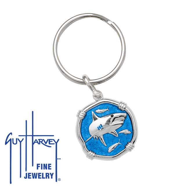 Guy Harvey Shark Keyring Caribbean Blue Enamel Bright Finish 25mm Sterling Silver