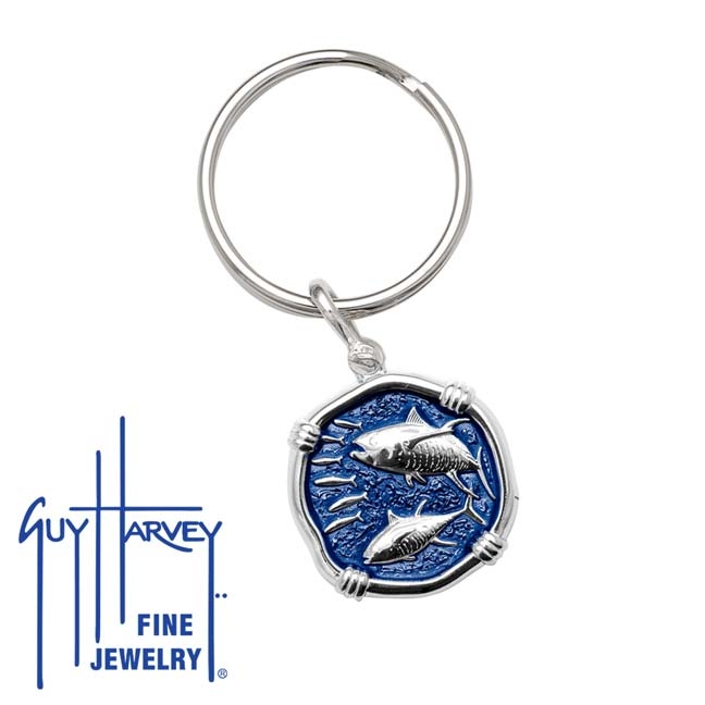 Guy Harvey Tuna Keyring Gulf Stream Blue Enamel Bright Finish 25mm Sterling Silver