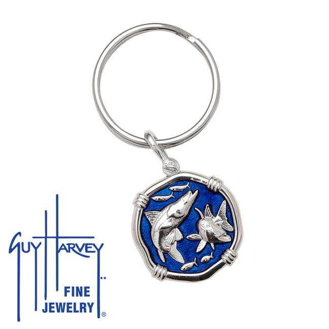 Guy Harvey Snook Keyring Gulf Stream Blue Enamel Bright Finish 25mm Sterling Silver