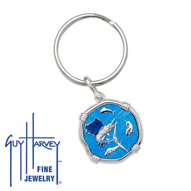 Guy Harvey Sailfish Keyring Full Color Enamel Bright Finish 25mm Sterling Silver