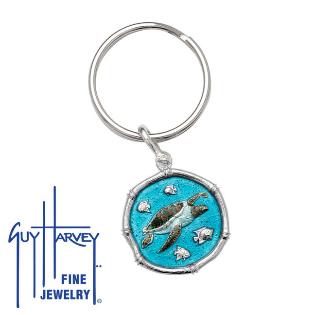 Guy Harvey Sea Turtle Keyring Full Color Enamel Bright Finish 25mm Sterling Silver
