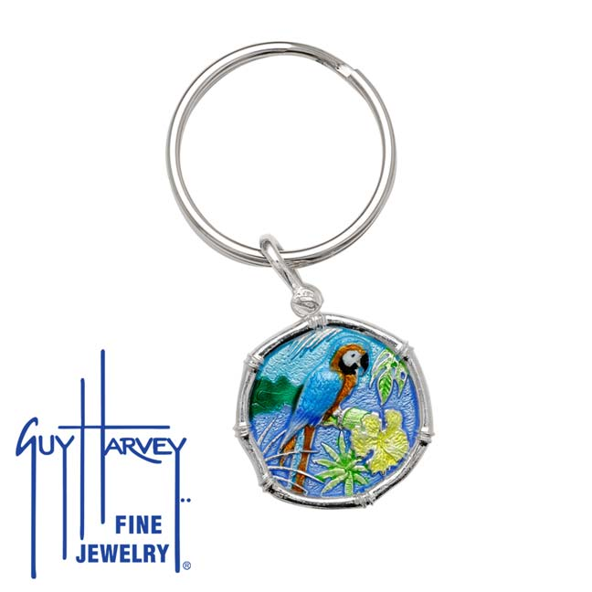 Guy Harvey Macaw Keyring Full Color Enamel Bright Finish 25mm Sterling Silver