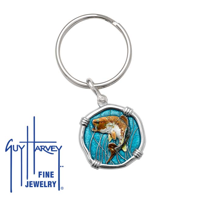 Guy Harvey Bass Keyring Full Color Enamel Bright Finish 25mm Sterling Silver