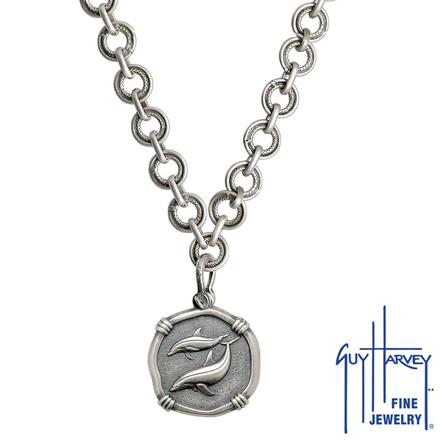 Porpoises on Circle Necklace Relic Finish 25mm Sterling Silver