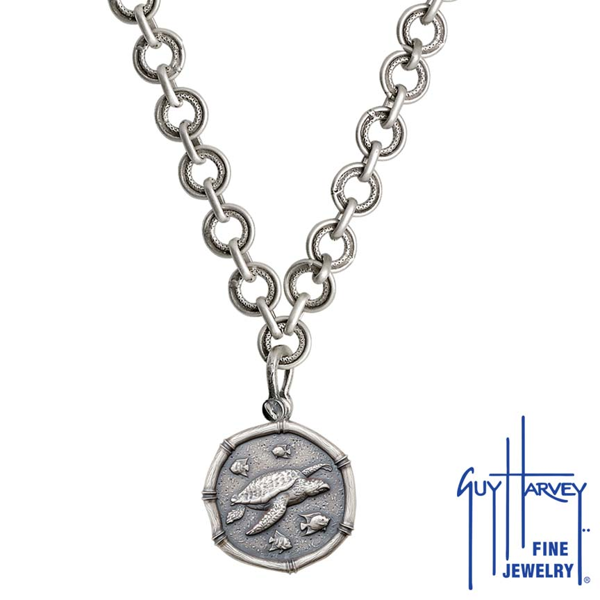 Sea Turtle on Circle Necklace Relic Finish 25mm Sterling Silver