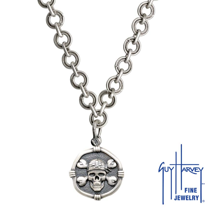 Pirate on Circle Necklace Relic Finish 25mm Sterling Silver