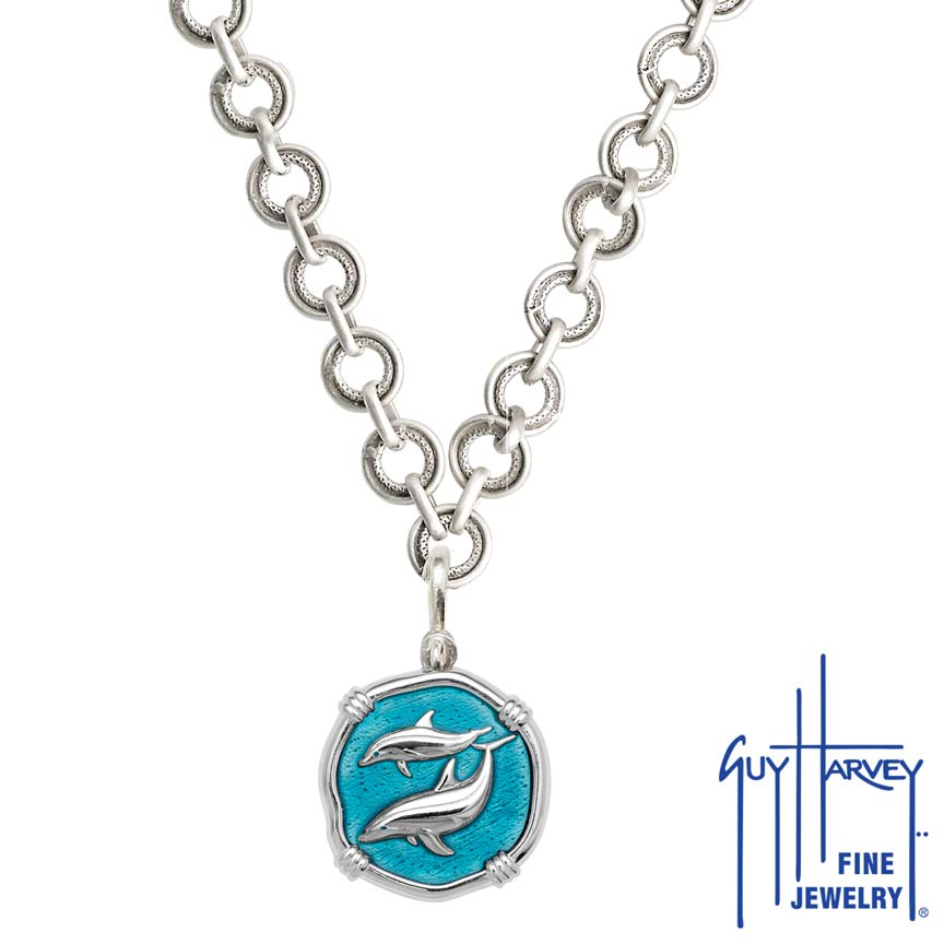 Porpoises on Circle Necklace Cayman Green Enamel Bright Finish 25mm Sterling Silver
