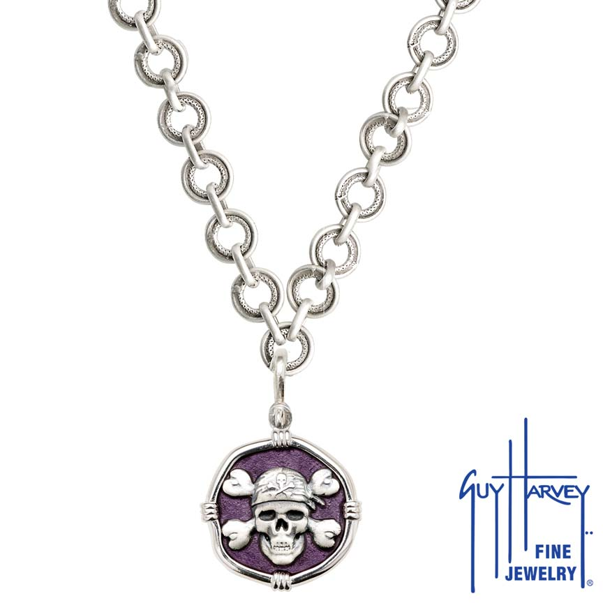 Pirate on Circle Necklace Purple Enamel Bright Finish 25mm Sterling Silver