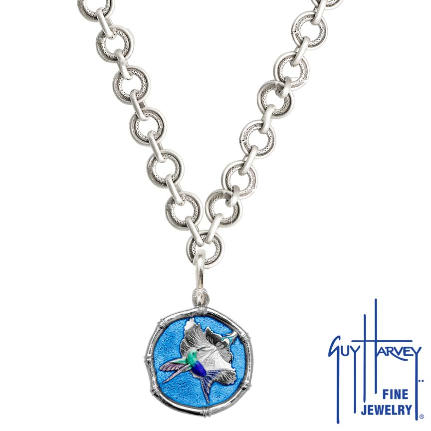 Guy Harvey Hummingbird Sterling Silver on Circle Necklace Full Color Blue