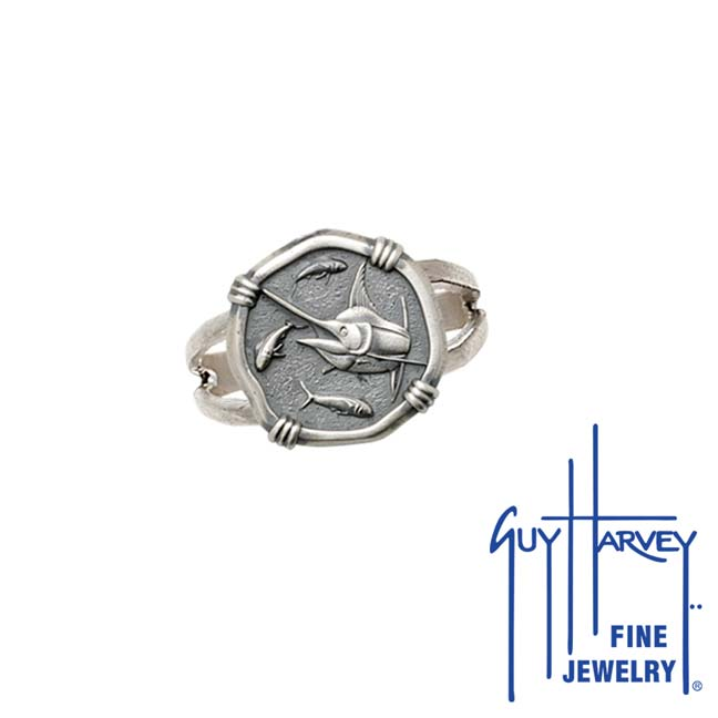 Guy Harvey Marlin Ring Relic Finish 15mm Sterling Silver