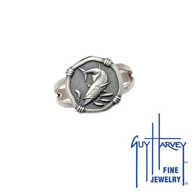Guy Harvey King Mackerel Ring Relic Finish 15mm Sterling Silver