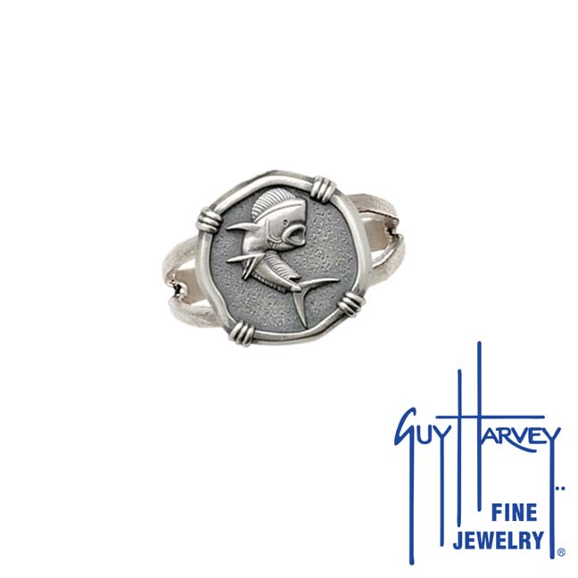 Guy Harvey Dolphin Ring Relic Finish 15mm Sterling Silver