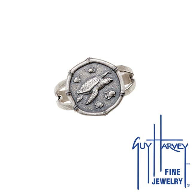 Guy Harvey Sea Turtle Ring Relic Finish 15mm Sterling Silver