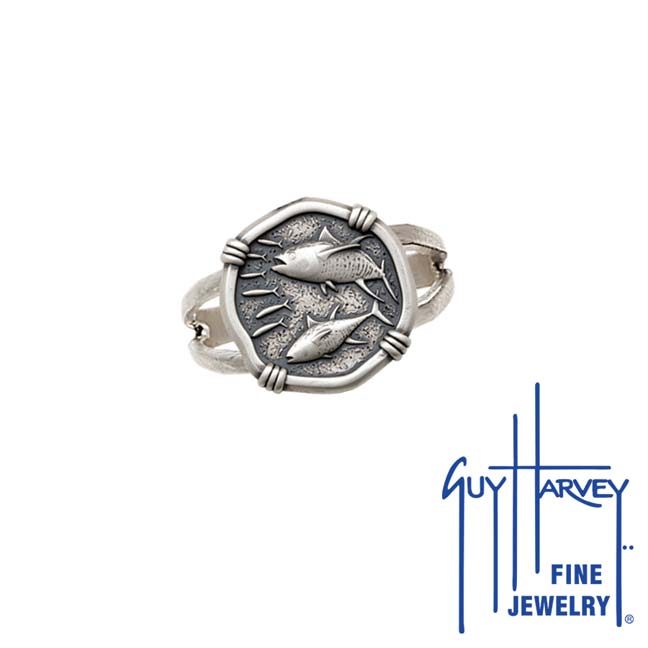 Guy Harvey Tuna Ring Relic Finish 15mm Sterling Silver