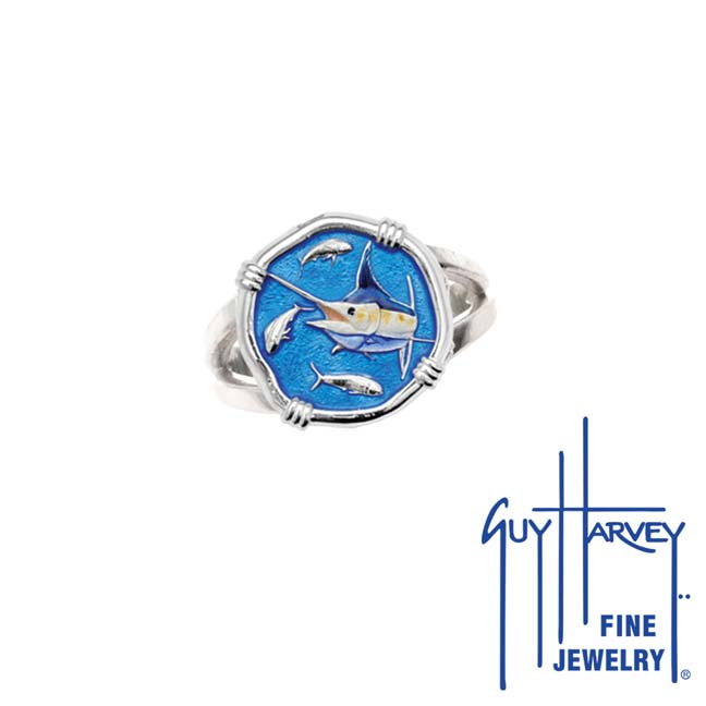 Guy Harvey Marlin Ring Full Color Enamel Bright Finish 15mm Sterling Silver