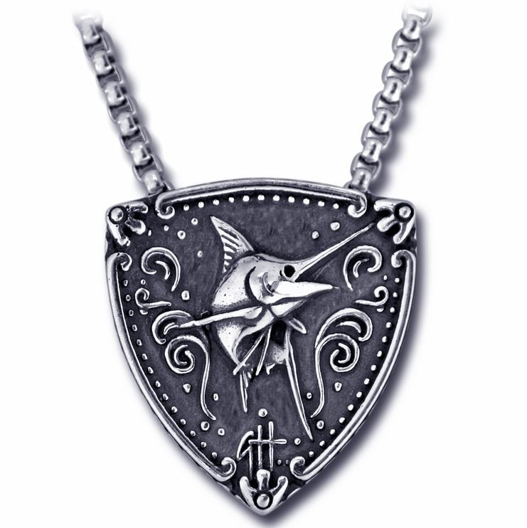 Guy Harvey Sterling Silver Blue Marlin Trillion Medallion