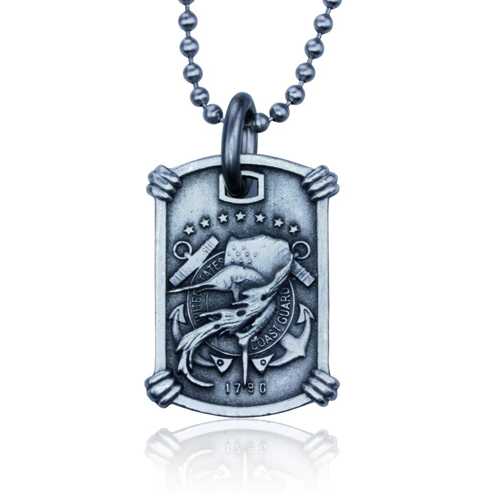 US Coast Guard Necklace by Guy Harvey. Complete with Stainless Steel Bead Chain