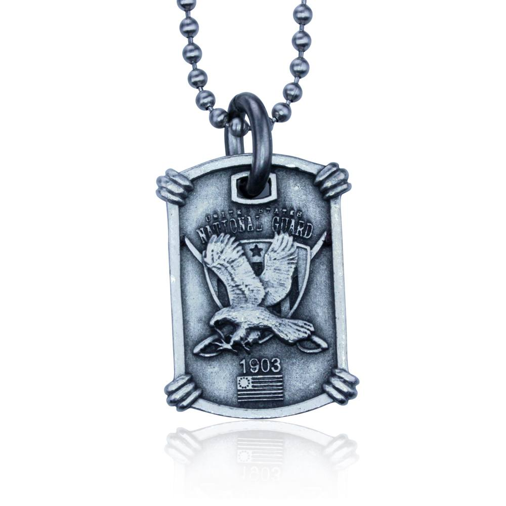 US National Guard Necklace by Guy Harvey. Complete with Stainless Steel Bead Chain