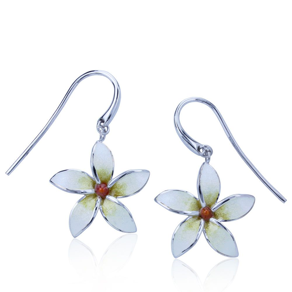 Guy Harvey Plumeria Flower Earrings Enameled and Crafted in Sterling Silver