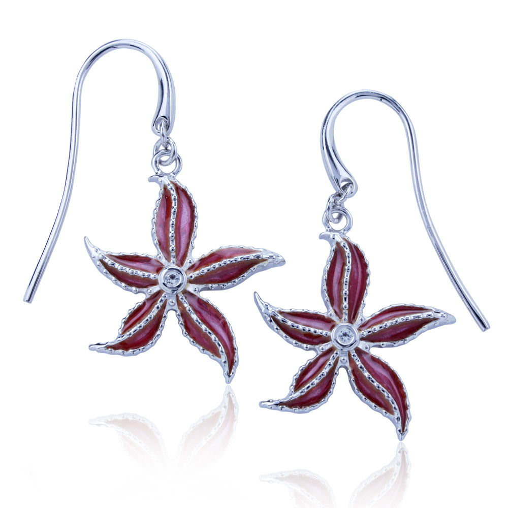 Guy Harvey Starfish Earrings - Enameled and Crafted in Sterling Silver