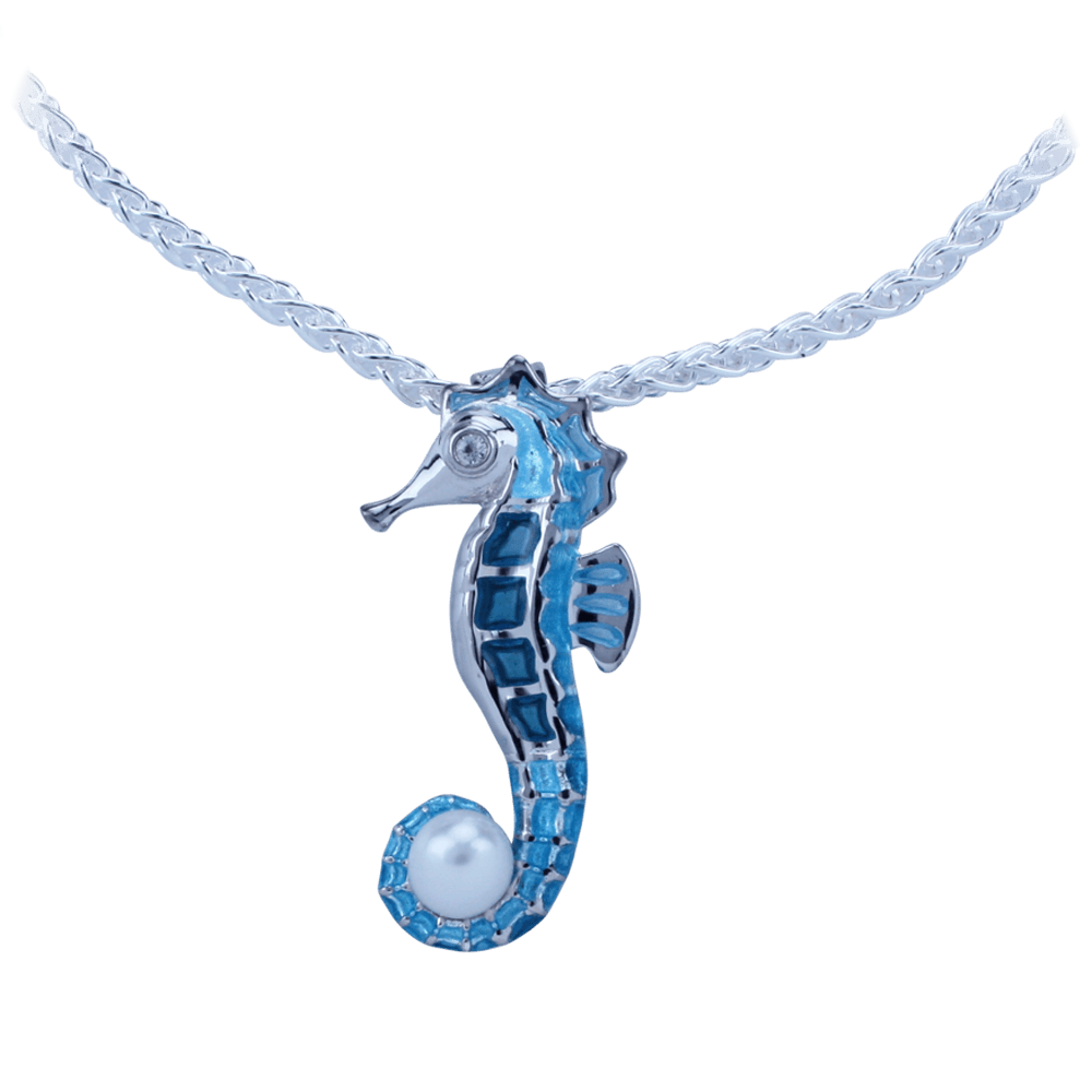 Guy Harvey Seahorse Necklace Enameled and Crafted in Sterling Silver