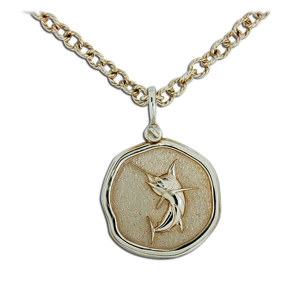 Guy Harvey 18K Jumping Marlin Necklace