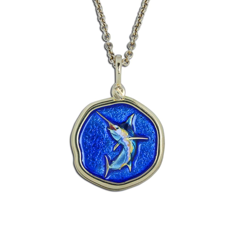 Guy Harvey 18K Jumping Marlin Necklace - Full Color Enamel