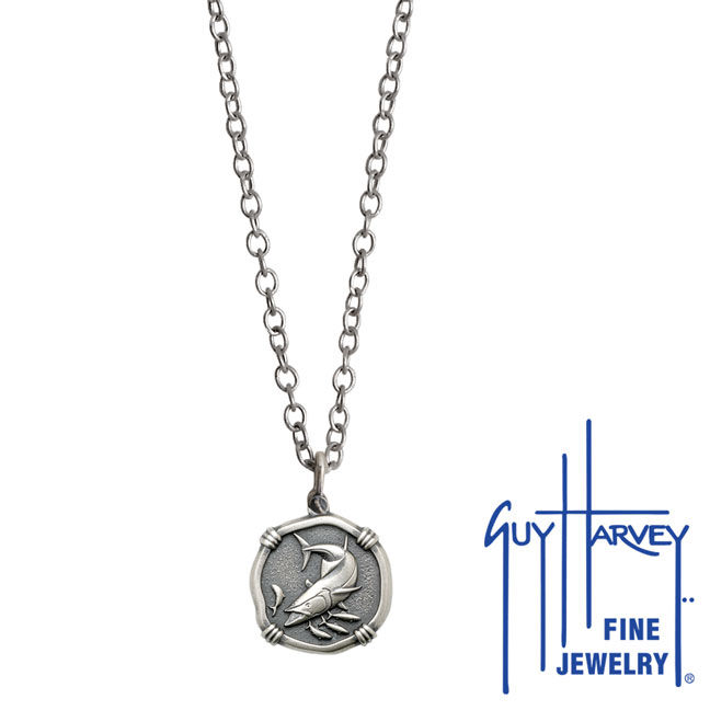 Guy Harvey Petite size Sterling Silver King Mackerel Necklace with Stainless Steel Link Chain