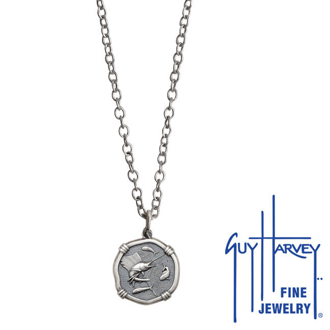 Guy Harvey Petite size Sterling Silver Sailfish Necklace with Stainless Steel Link Chain