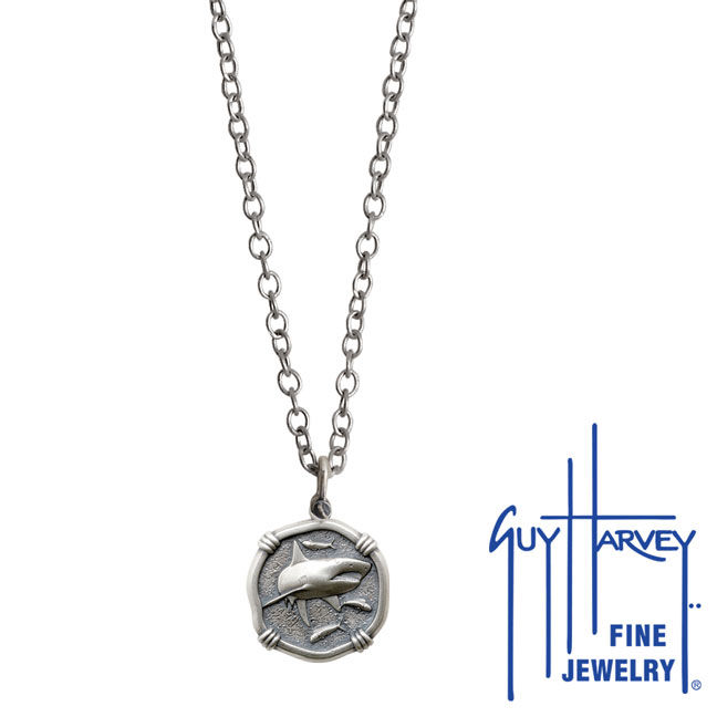 Guy Harvey Petite size Sterling Silver Shark Necklace with Stainless Steel Link Chain