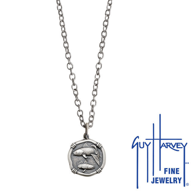 Guy Harvey Petite size Sterling Silver Redfish & Trout Necklace with Stainless Steel Link Chain
