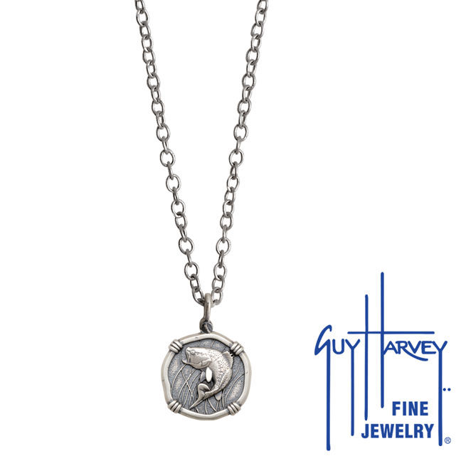 Guy Harvey Petite size Sterling Silver Bass Necklace with Stainless Steel Link Chain