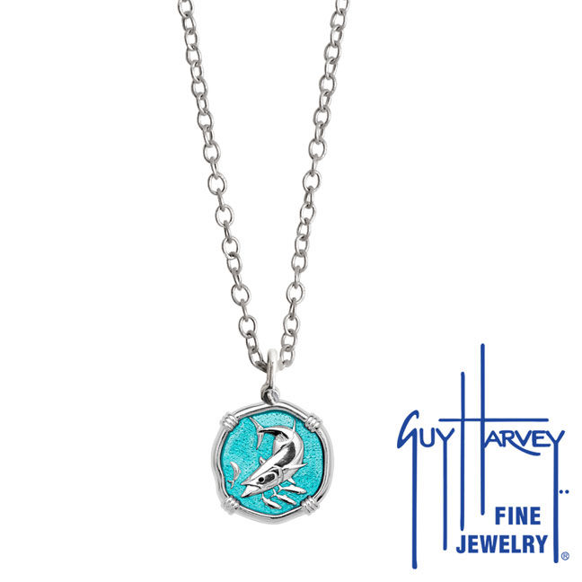 Guy Harvey Petite Green Enamel Sterling Silver King Mackerel Necklace - Stainless Steel Chain